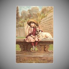 "Advertising Trade Card "" Kidd's Cough Syrup"" with Girl & Dog"