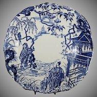 """Royal Crown Derby 8 3/4"""" x 8 5/8"""" Square Cake Plate ( Blue Mikado Pattern )"""