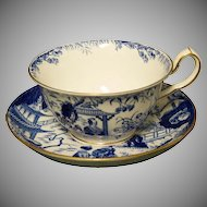 Royal Crown Derby Coffee Cup & Deep Saucer Set ( Blue Mikado Pattern)