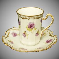 Beautiful Limoges French Porcelain Chocolate Cup & Saucer w/ Violets