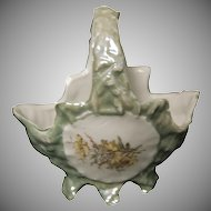 1900's - 1910's Little Light Green Porcelain German Basket w/ Cupid