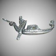 "Sterling Silver charm for Charm Bracelet of Italian Venice ""Gondola"""