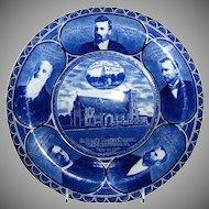 "Rolled Edge Blue & White Souvenir Plate of "" St. Paul's Union Church """
