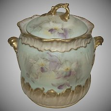 Wonderful 1890's French Hand Painted Cracker / Biscuit Jar w/ Orchids