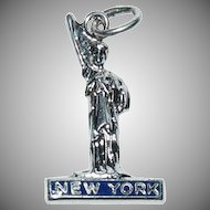 "Sterling Silver Enameled Charm for a Charm Bracelet "" New York Statue of Liberty """