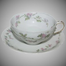 "French Haviland Cup & Saucer Set  ""Floral"""
