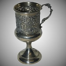 Delightful and Charming Sterling Silver Footed 1890's Cordial w/ Cherubs playing