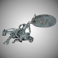 "Western Cowgirl Charm for a Charm Bracelet "" Bucking Bronco "" (Horse & Cowboy)"