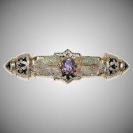 1890's Victorian Bar Pin  w/ Black Enameling and a Purple Amethyst looking stone