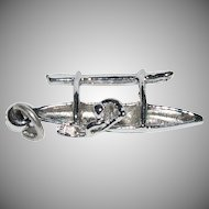 "Silver Charm for a Charm Bracelet "" Hawaiian  Outrigger Canoe with Man Paddling""Fan """