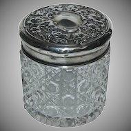 (2) English Silver Sterling Top w/ Cut Glass Dresser Jars