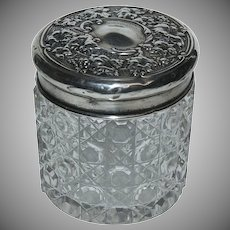 (2) English Silver Sterling Top w/ Cut Glass Dresser Jars