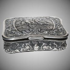 Fancy Romantic Scene Silver German Snuff Box