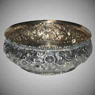 1890's - 1900's Superb Blown Out Floral Decorated Repousse Sterling Bowl by Wm B Durgin Co