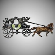 Sterling Silver Enameled Figural Horse Drawn Coach Pin / Brooch