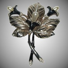"3 piece Set ""Large Brooch & Matching Earring's"" with Trumpet / Lily Blooms & Leaf"