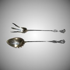 2 Pcs c.1895 Towle Old Colonial Sterling Lettuce Fork and Spoon Set