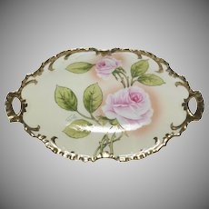 1890's Beautiful Bavarian Hand Painted Artist Signed Dish with Handles