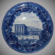 "Blue & White Souvenir Plate ""Antlers Hotel Colorado Springs Colorado"""