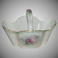 "1890's Bavarian Porcelain Hand Painted Basket with ""Roses"""