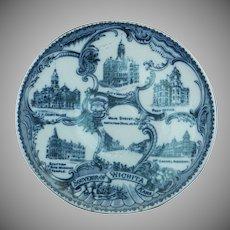 """Blue & White Souvenir Plate of """"Wichita, Kansas"""""""