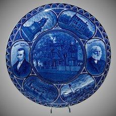 "Blue & White R & M Souvenir Plate ""Henry Wadsworth Longfellow"""