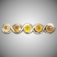 14K Gold pin with (5) Small Yellow Amber stones