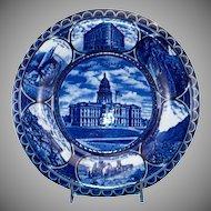 """Blue & White Historical Souvenir Plate of """"Denver Colorado""""."""