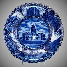 "Blue & White Historical Souvenir Plate of ""Denver Colorado""."
