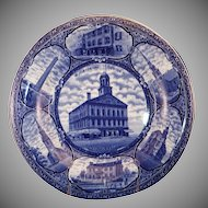 "Blue & White Historical Souvenir Plate of ""Historic Boston Mass."""