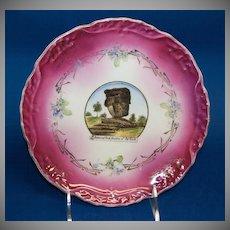 """1890's - 1900's Wheelock Souvenir Plate of the """"Balanced Rock, Garden of the Gods"""""""