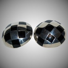1930's - 1940's Checkerboard Design Black Enameled & Silver Mexican Sterling Clip On Earrings