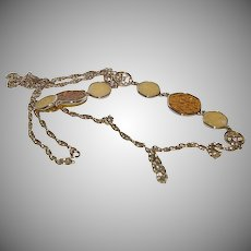 """1950's - 1960's 37"""" Long Gold Finish Sarah Coventry Chain Necklace with Asian Motif"""