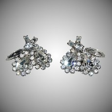 1930's - 1940's Great Pair of Weiss Clip On Earrings w/ Many Shapes of Rhinestones