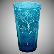 European 1890's Victorian Tumbler in Beautiful Sapphire Blue with White Enameling