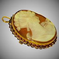 1920's - 1930's Carved Shell Lady Portrait Cameo Brooch w/ Gold Finish (GF) Bezel