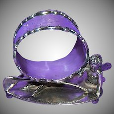 1890's Fancy Figural Silverplated Napkin Ring with Butterfly Winged Cherub
