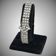 1920's - 1930's Sterling & Rhinestone Bracelet w/ Fancy Belt Buckle
