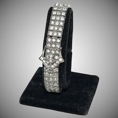 1920's - 1930's Sterling & Rhinestone Bracelet w/ Fancy Belt Buckle
