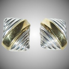 Pair of Mixed Metals / Sterling & Brass  Mexican Earrings
