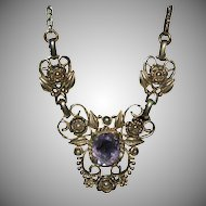 Ornate Designed GF Necklace w/ Amethyst Pendant