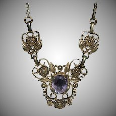 Ornate Designed GF Necklace w/ Amethyst Pendant