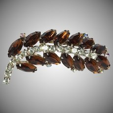 Amber & Clear Rhinestones Feather Brooch