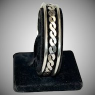 Sterling Silver Bangle Bracelet w/ Chain Design