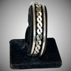 Sterling Silver Bangle Bracelet w/ Chain Design