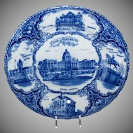 Blue & White Souvenir Plate of Views of Harrisburg