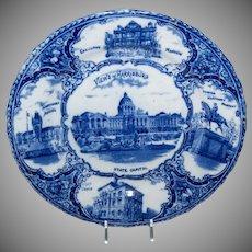 Blue & White Souvenir Plate of Views of Harrisburg