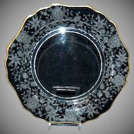"Cambridge Glass Wildflower 7 1/2"" Salad / Dessert Plate w/ Gold Trim"