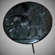 1900's Antique Jet Black Glass Large Round Hat Pin w/ Lion Figure