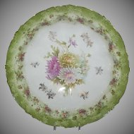 "Unmarked Early R S Prussia Green 9"" Bowl w/ Chrysanthemums"